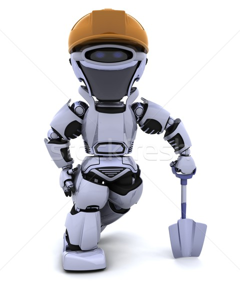 Foto d'archivio: Costruzione · robot · vanga · rendering · 3d · lavoratore · industriali