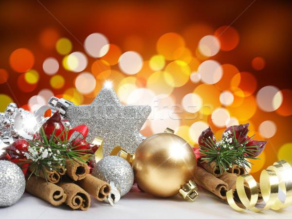 Natale decorazioni offuscata luci sfondo palla Foto d'archivio © kjpargeter