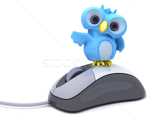Cute blu uccello carattere rendering 3d Foto d'archivio © kjpargeter