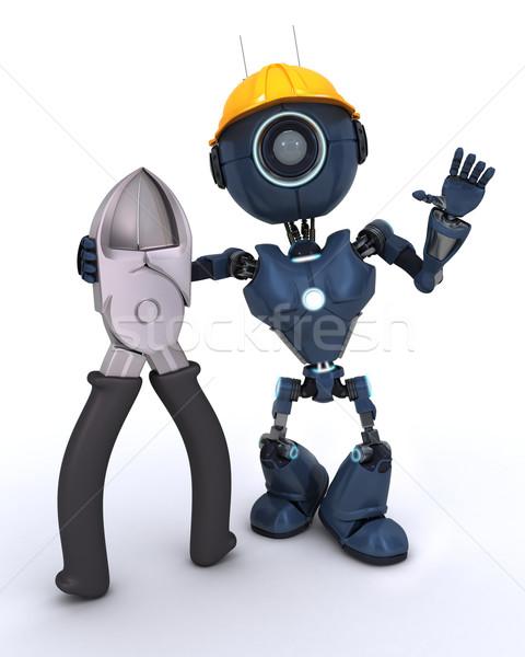 Android bouwer draad 3d render werk robot Stockfoto © kjpargeter
