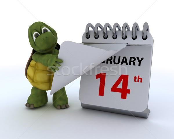 черепаха календаря 3d визуализации океана оболочки дневнике Сток-фото © kjpargeter