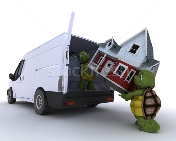 tortoises loading a house into a house into a van Stock photo © kjpargeter