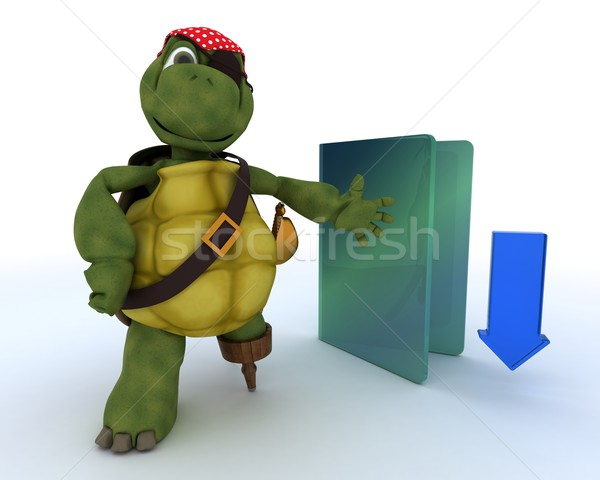 Pirate Tortoise depicting illegal downloads Stock photo © kjpargeter