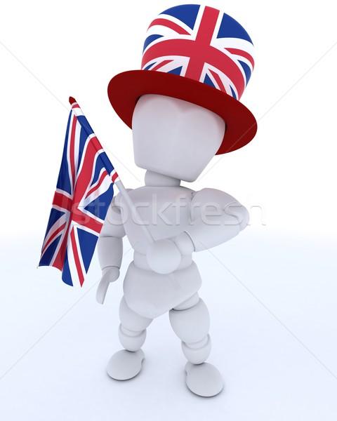 Adam İngiliz bayrağı şapka bayrak 3d render tatil Stok fotoğraf © kjpargeter