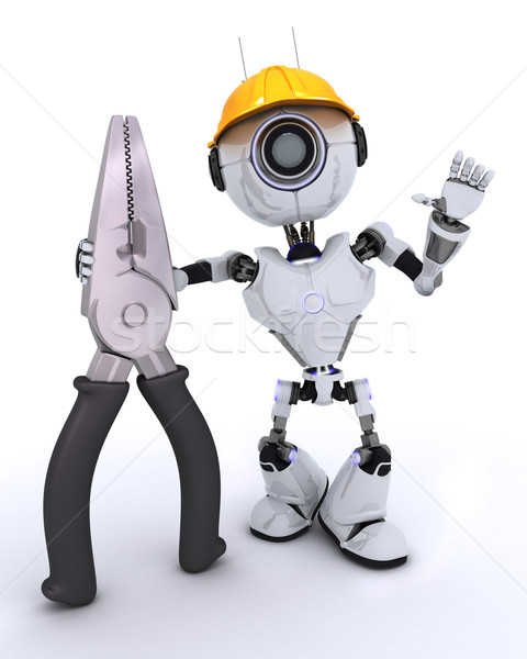 Robot builder with pliers Stock photo © kjpargeter