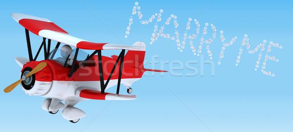 Férfi égbolt ír kétfedelű repülőgép 3d render repülőgép Stock fotó © kjpargeter