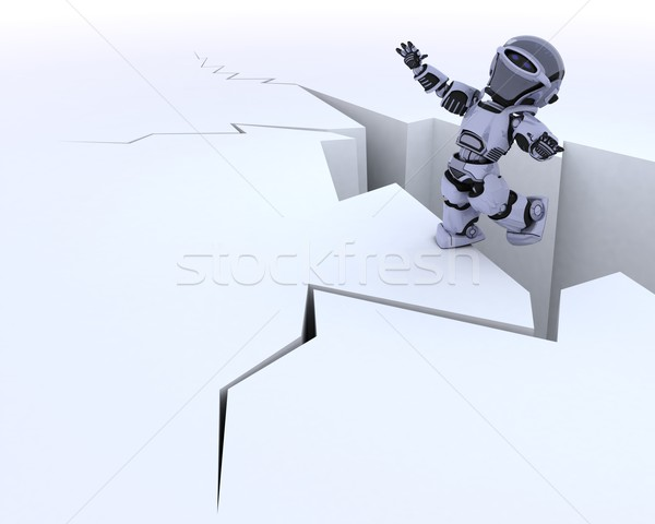 robot on a cliff edge Stock photo © kjpargeter