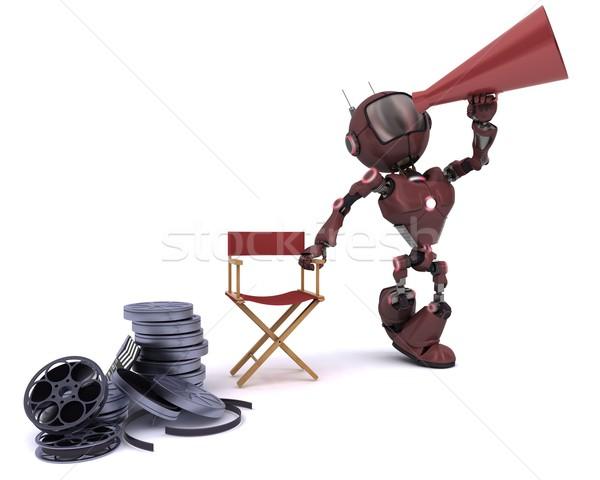 Foto stock: Andróide · cadeira · megafone · 3d · render · homem · cinema