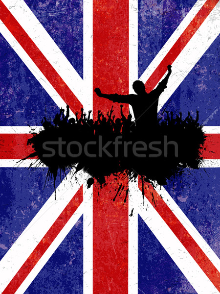 Grunge fête union jack pavillon silhouette foule Photo stock © kjpargeter
