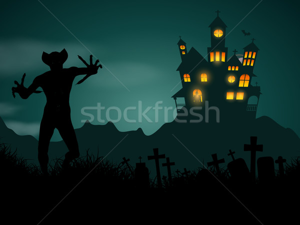 Halloween demon nawiedzony domu demoniczny rysunku Zdjęcia stock © kjpargeter
