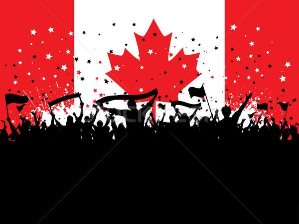 Fête foule drapeau canadien silhouette bannières drapeaux Photo stock © kjpargeter