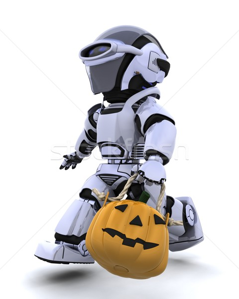 robot with jack o lantern pumpkin Stock photo © kjpargeter
