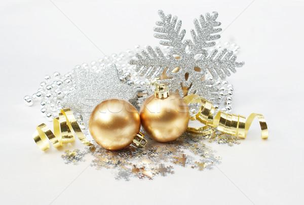 Stockfoto: Christmas · decoratief · achtergrond · winter · goud · vakantie