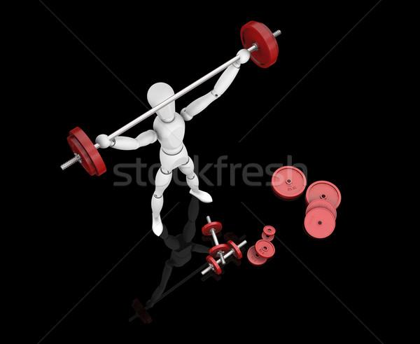 Gewichtheffer 3d render man gewichten mannelijke Stockfoto © kjpargeter