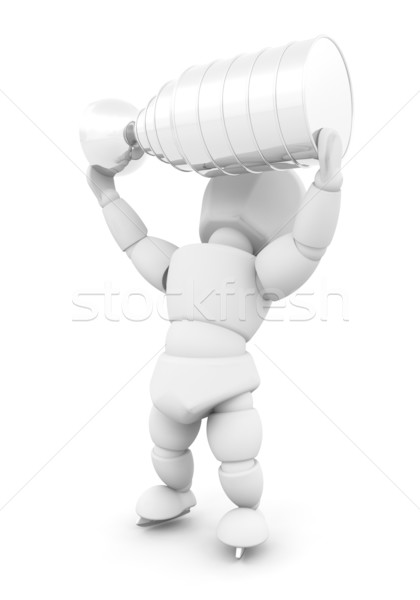 Ice hockey player with trophy Stock photo © kjpargeter