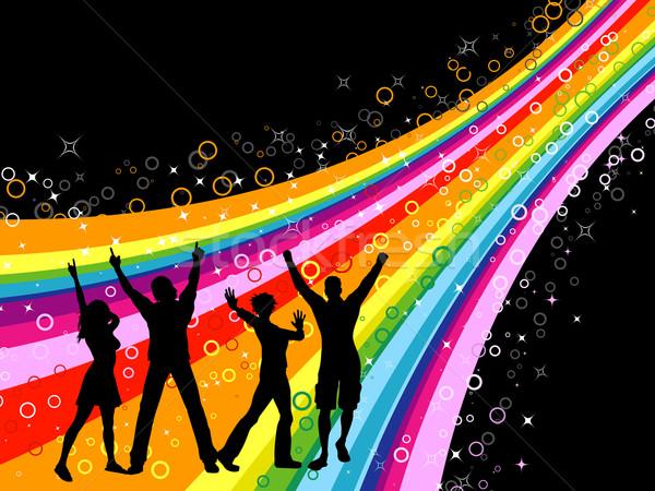 Сток-фото: вечеринка · люди · танцы · радуга