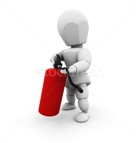 Személy tart tűzoltó készülék 3d render Stock fotó © kjpargeter