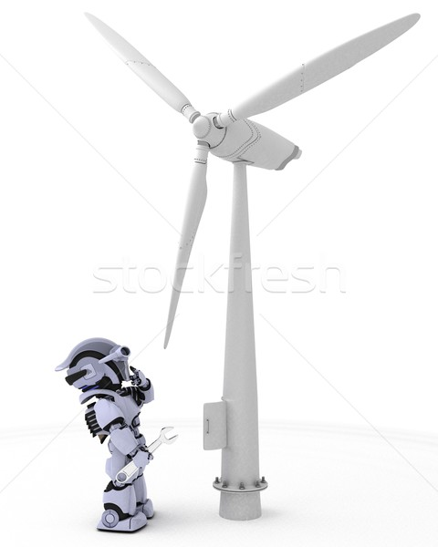 Robot with wind turbine Stock photo © kjpargeter