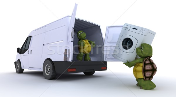 tortoises loading a washing machine into a van Stock photo © kjpargeter