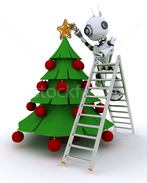 Robot trimming the tree Stock photo © kjpargeter