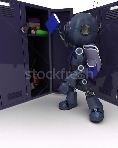 Android school zak kastje 3d render man Stockfoto © kjpargeter