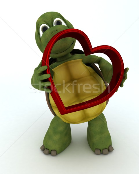 tortoise with heart charm Stock photo © kjpargeter