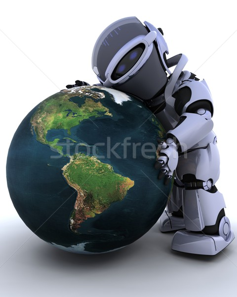 Cute robot cyborg rendu 3d terre Photo stock © kjpargeter