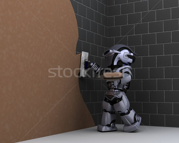 robot contractor plastering a wall Stock photo © kjpargeter