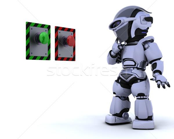 Foto stock: Robô · botão · 3d · render · futuro · moderno