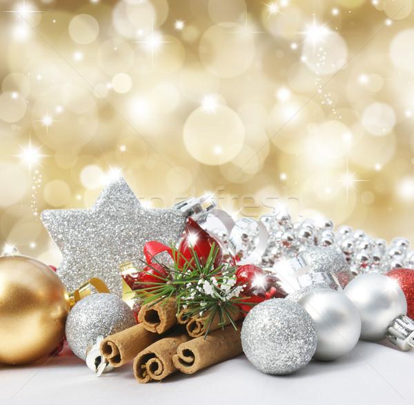 Stock fotó: Karácsony · díszítések · háttér · tél · csillag · arany