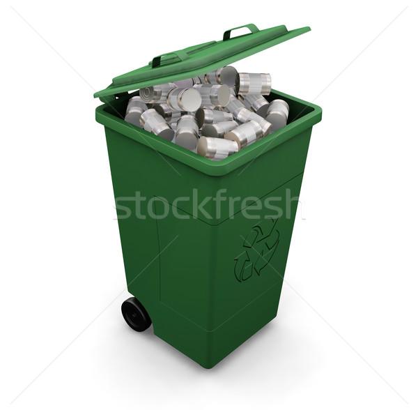 újrahasznosítás tároló 3d render tele konzervdoboz háttér Stock fotó © kjpargeter