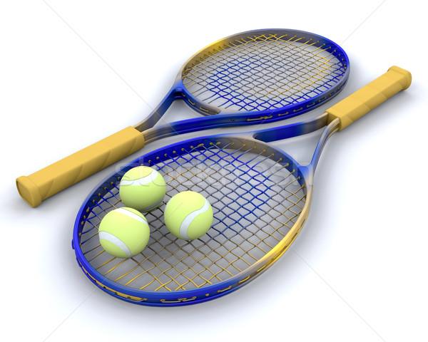 Tenisz golyók 3d render jókedv játék profi Stock fotó © kjpargeter