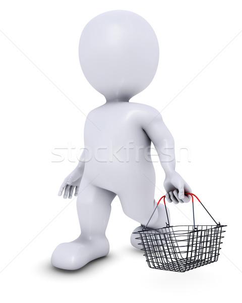 Férfi bevásárlókosár 3d render vásárlás bolt kosár Stock fotó © kjpargeter