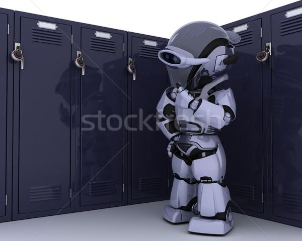 робота школы ящик 3d визуализации двери безопасности Сток-фото © kjpargeter