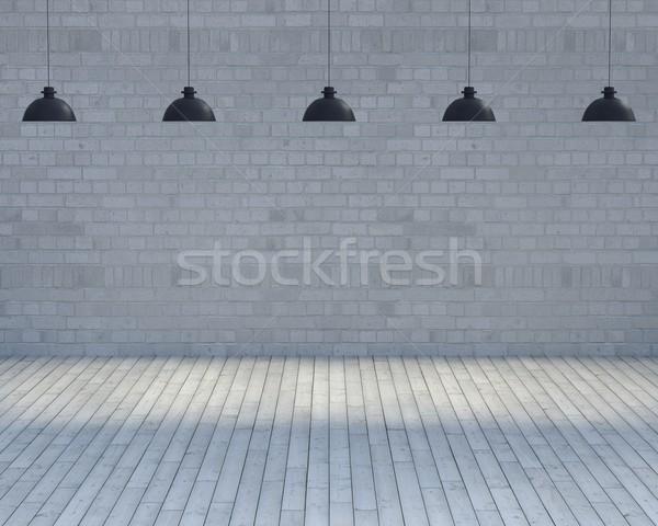 Lege kamer lichten 3d render bouw home achtergrond Stockfoto © kjpargeter