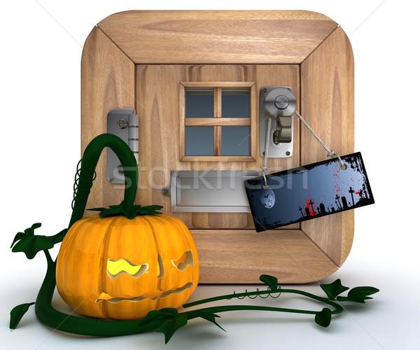 Truc lantaarn 3d render oranje vakantie Stockfoto © kjpargeter