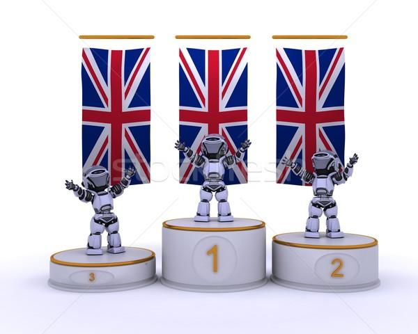 Campeonato pódio 3d render robô futuro Foto stock © kjpargeter