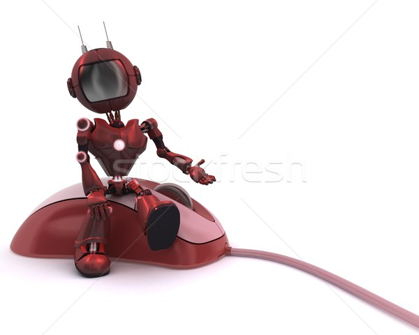 Android with computer mouse Stock photo © kjpargeter