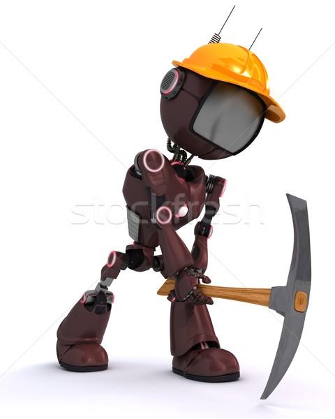 Android budowniczy topór 3d człowiek narzędzie Zdjęcia stock © kjpargeter