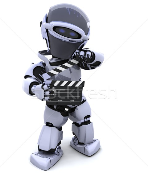 robot with clapper board Stock photo © kjpargeter
