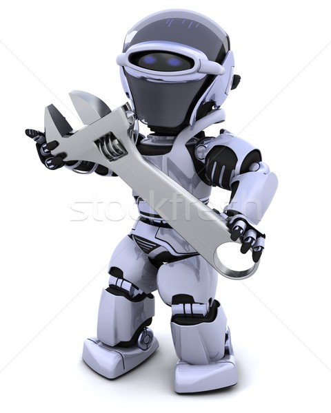 robot and adjustable wrench Stock photo © kjpargeter