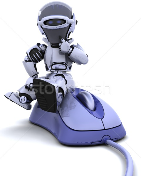 Robot bilgisayar fare 3d render ofis çalışmak kablo Stok fotoğraf © kjpargeter