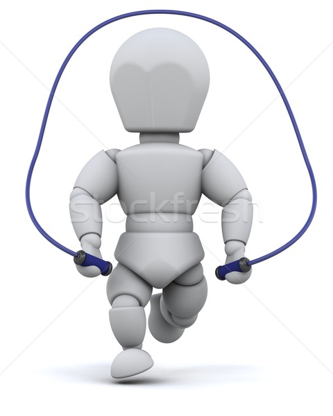 man skipping with jump rope Stock photo © kjpargeter