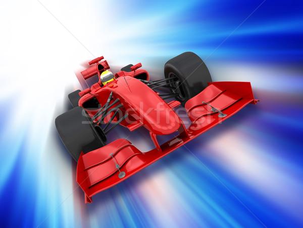Fórmula um carro 3d render movimento esportes vermelho Foto stock © kjpargeter