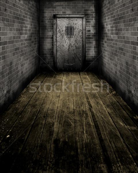 Grunge Interior with a prison door Stock photo © kjpargeter