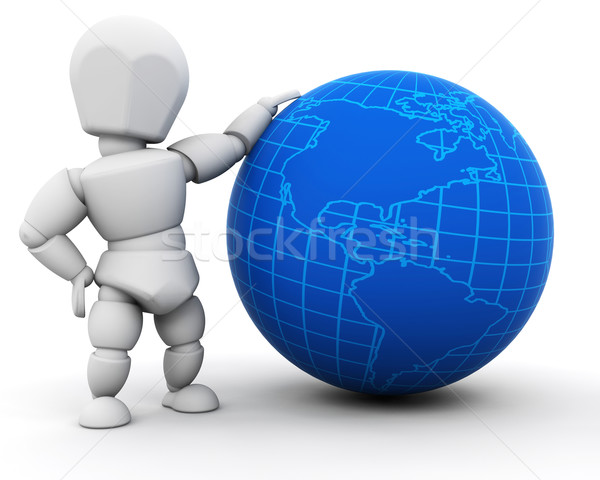 Person with globe Stock photo © kjpargeter