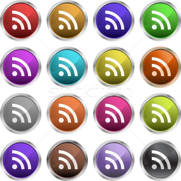 Rss symbolen glanzend iconen wereld www Stockfoto © kjpargeter
