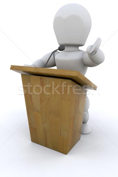 3D konuşmacı yalıtılmış beyaz arka plan mikrofon Stok fotoğraf © kjpargeter