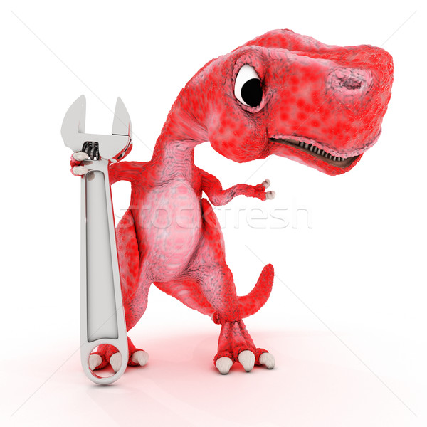 Friendly Cartoon Dinosaur with wrench Stock photo © kjpargeter
