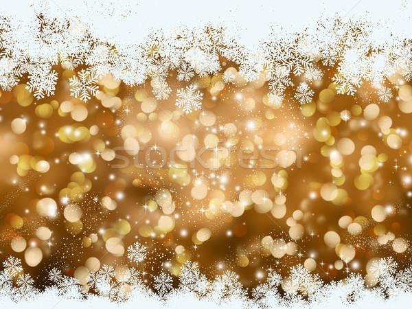 Gold Christmas snowflake background Stock photo © kjpargeter